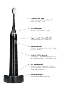 360PRO Sonic Toothbrush in Induction Stand black