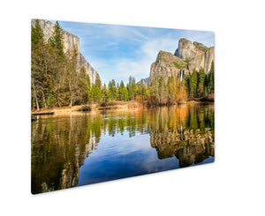 Metal Panel Print, Yosemite Lake With Waterfall On - My Fifth Avenue