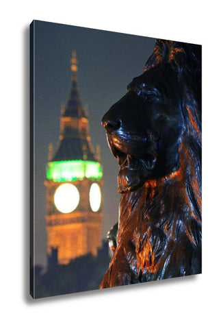 Gallery Wrapped Canvas, Trafalgar Square Lion Statue And Big Ben In London - My Fifth Avenue
