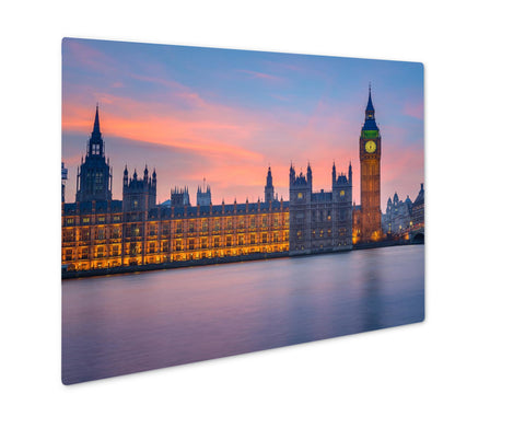 Metal Panel Print, Big Ben And Houses Of Parliament At Dusk London UK - My Fifth Avenue