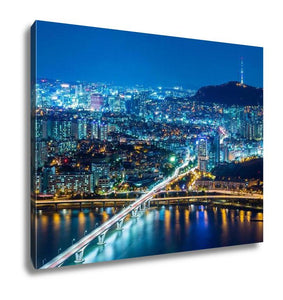 Gallery Wrapped Canvas, Seoul South Korea Skyline At Night - My Fifth Avenue