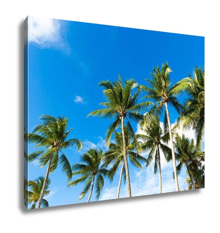 Gallery Wrapped Canvas, Tropical Palm Trees In The Blue Sunny Sky - My Fifth Avenue