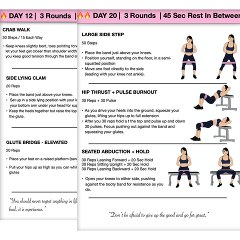 goandachieve Resistance Bands 4 Weeks Booty Workout Guide
