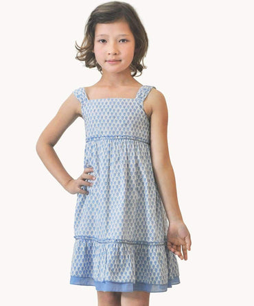 Blue Buta Girls Dress
