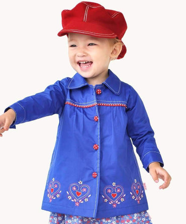 Blue Embroidered Toddler Rain Coat