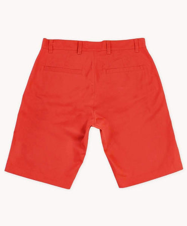 Brick Red Cotton Twill Shorts