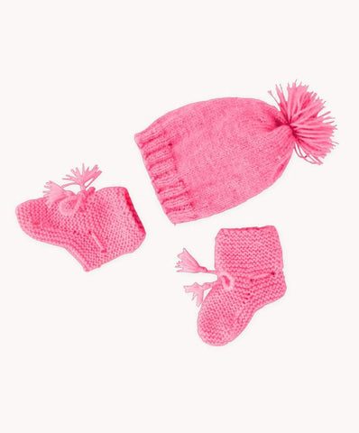 Bright Coral Baby Bootie & Hat Set