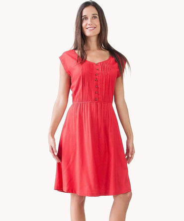 Chic Vermilion Pin Tuck Dress