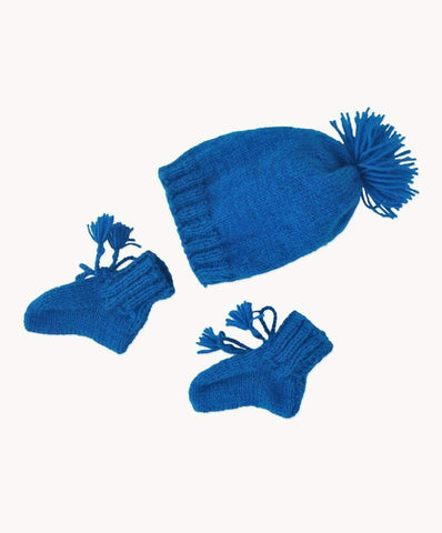 Cobalt Blue Baby Bootie & Hat Set
