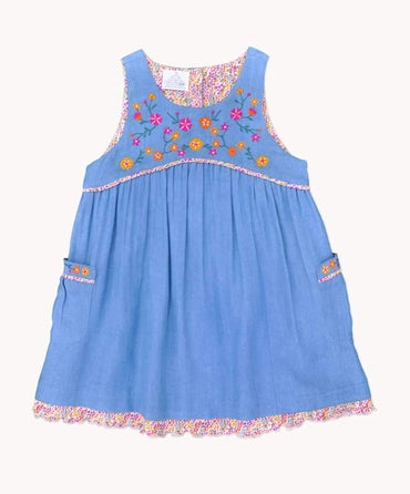 Ditsy Denim Pinafore Dress