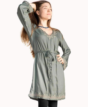 Earth Sage Embroidered Dress