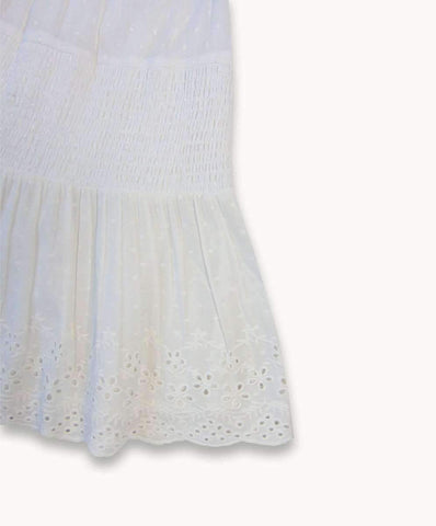Embroidered Shirred Skirt