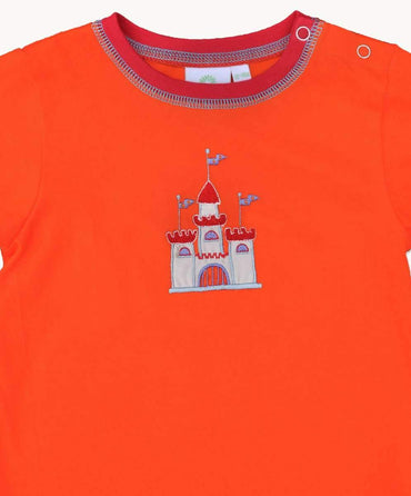 Fun Orange Castle Cotton T-Shirt