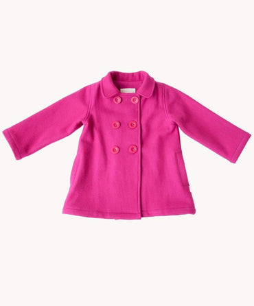 Hot Pink Double Breasted Toddler Wool Coat