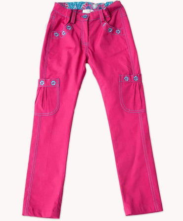 Hot Pink Embroidered Pants