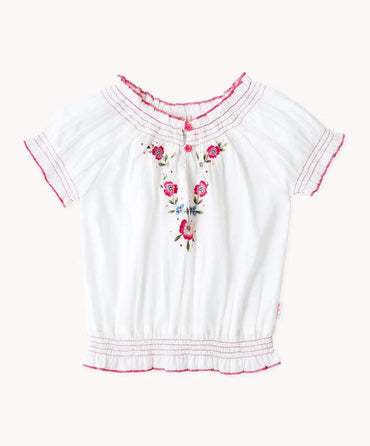 Ivory Embroidered Gypsy Top
