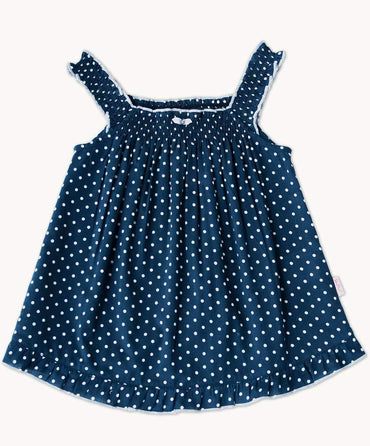 Navy Dot Shirred Swing Top