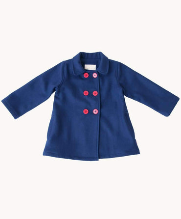 Navy Double Breasted Toddler Wool Coat