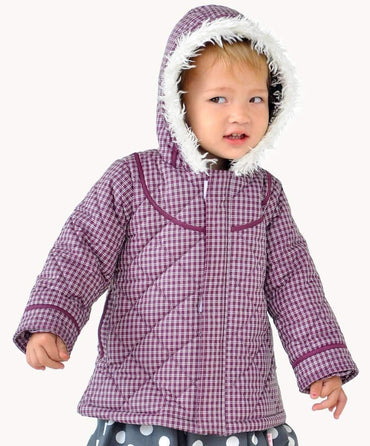 Purple Check Toddler Quilted Coat