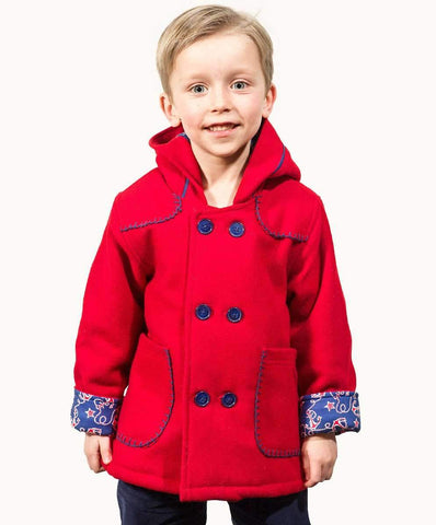 Red Blanket Stitch Toddler Wool Coat