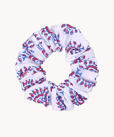 Red Blue Block Print Bunny Ear Scrunchie