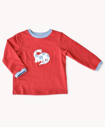 Red Dinosaur Long Sleeve Top