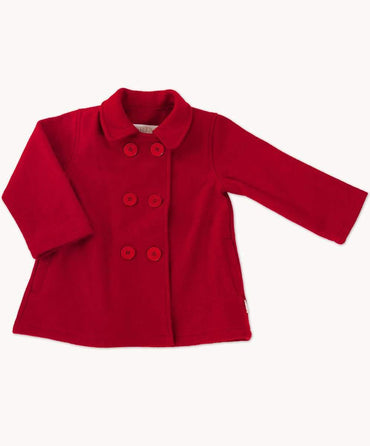 Red Double Breasted Toddler Wool Coat