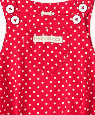 Red Polkadot Cotton Playsuit
