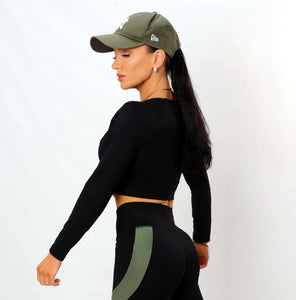 Crop top negro manga larga Fitness