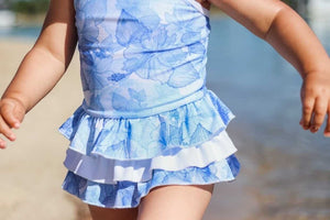 Blue Hawaii Ruffle Swim Suit