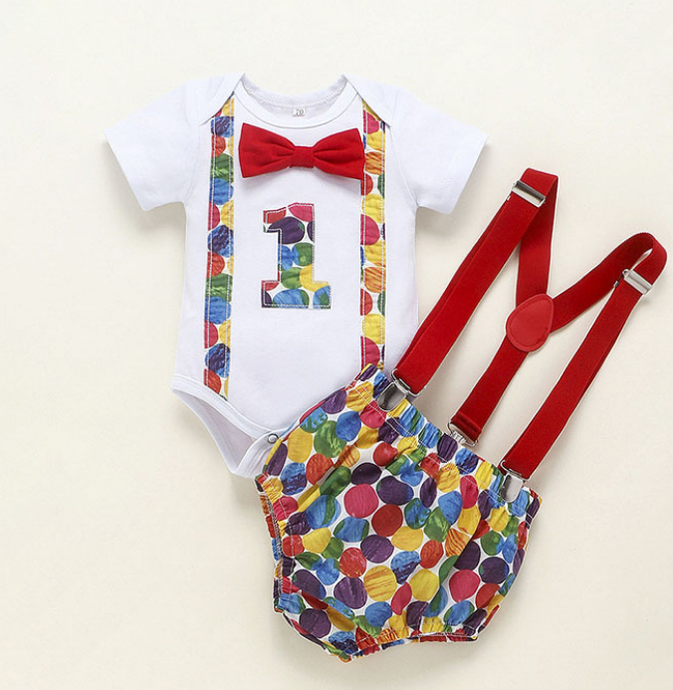 Boys Dotty 1st Birthday Outfit