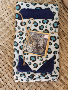 Jersey wrap, bib and burp cloth set - blue leopard