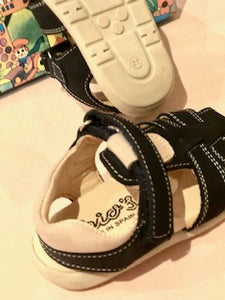 Boys Tan and Navy Sandal