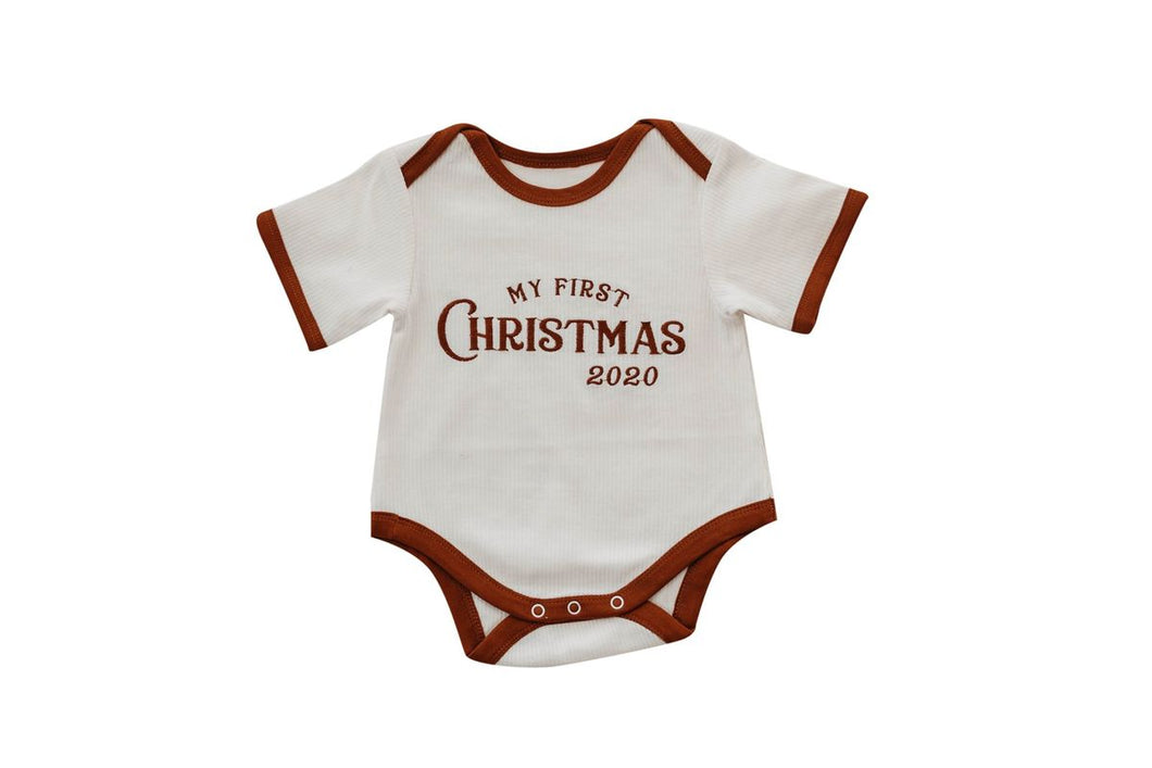 My First Christmas Romper/Bib