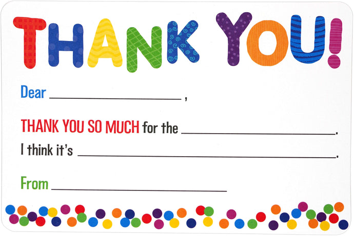 Children's Fill In Thank You Note Cards