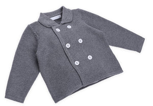 Unisex Grey Button-up Coat