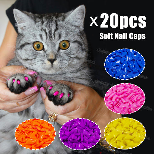 20pcs Silicone Soft Cat Nail Cover