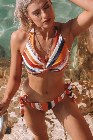 navy-orange-striped-twist-halter-bikini-set