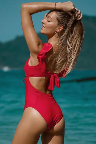 ruffle-neck-red-one-piece-swimsuit