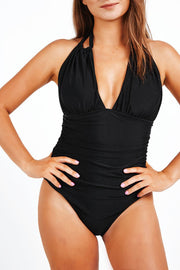 Black Halter One Piece Swimsuit V-Neck - bikini149.com