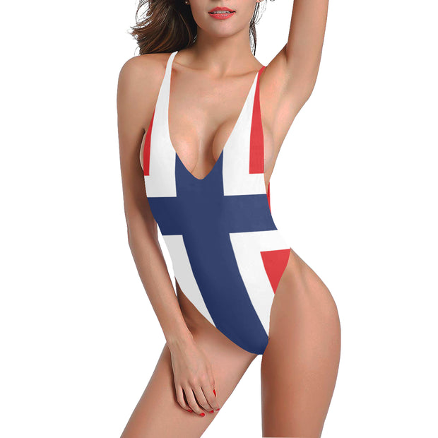 Halter Straps Backless One Piece Swimsuit Norway - bikini149.com