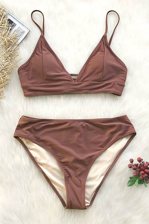 Brown Bikini Set Lace up at back - bikini149.com