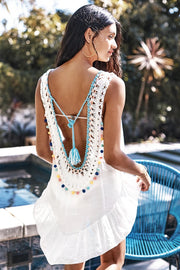 White Cover Up With Pastel Pom Poms - bikini149.com