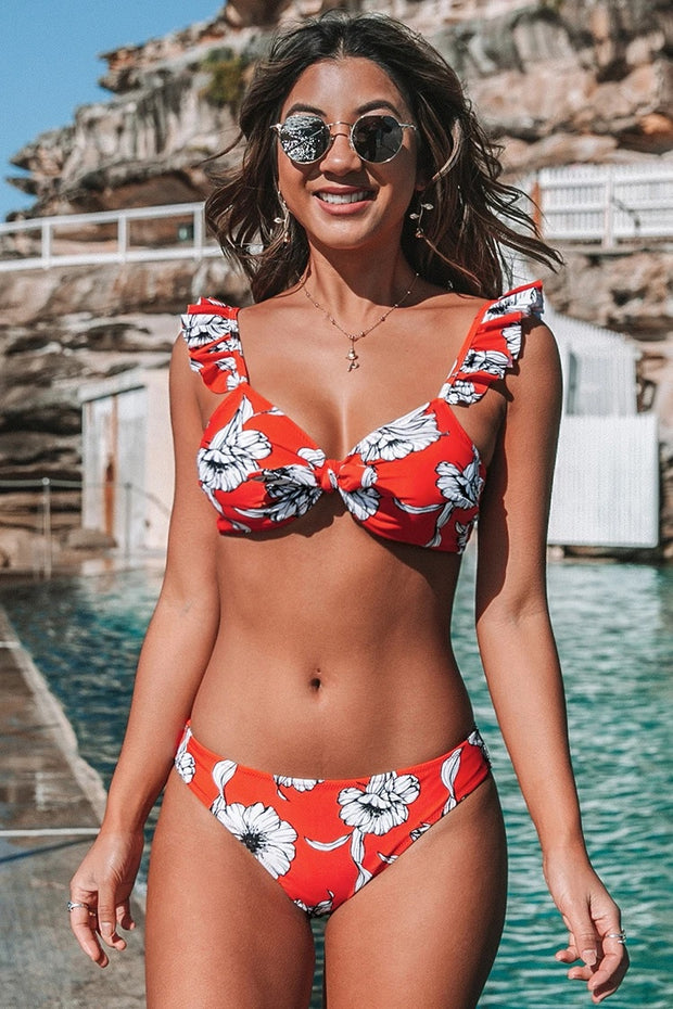 Red Floral Knotted Ruffled Bikini Set