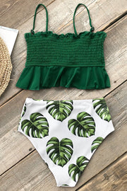 Ruffle under the bust green leaves swimsuit - bikini149.com