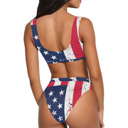 High-Waisted Bikini Swimsuit American Flag - bikini149.com