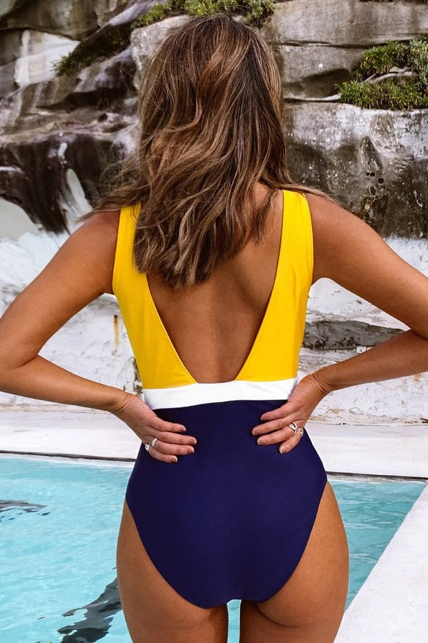 Yellow Blue Colorblocked Open Back One-Piece Swimsuit