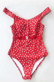 Strawberry Girl Red Polka Dot Belted One-Piece Swimsuit