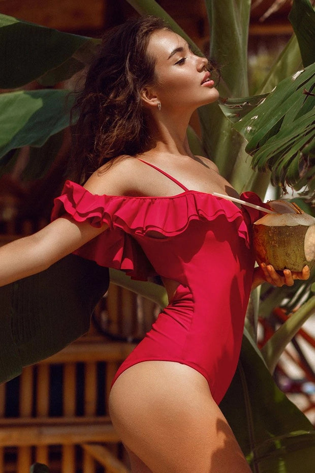 Solid Red Off-The-Shoulder Ruffles One-Piece Swimsuit