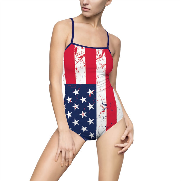 Women's One-piece Swimsuit American Flag